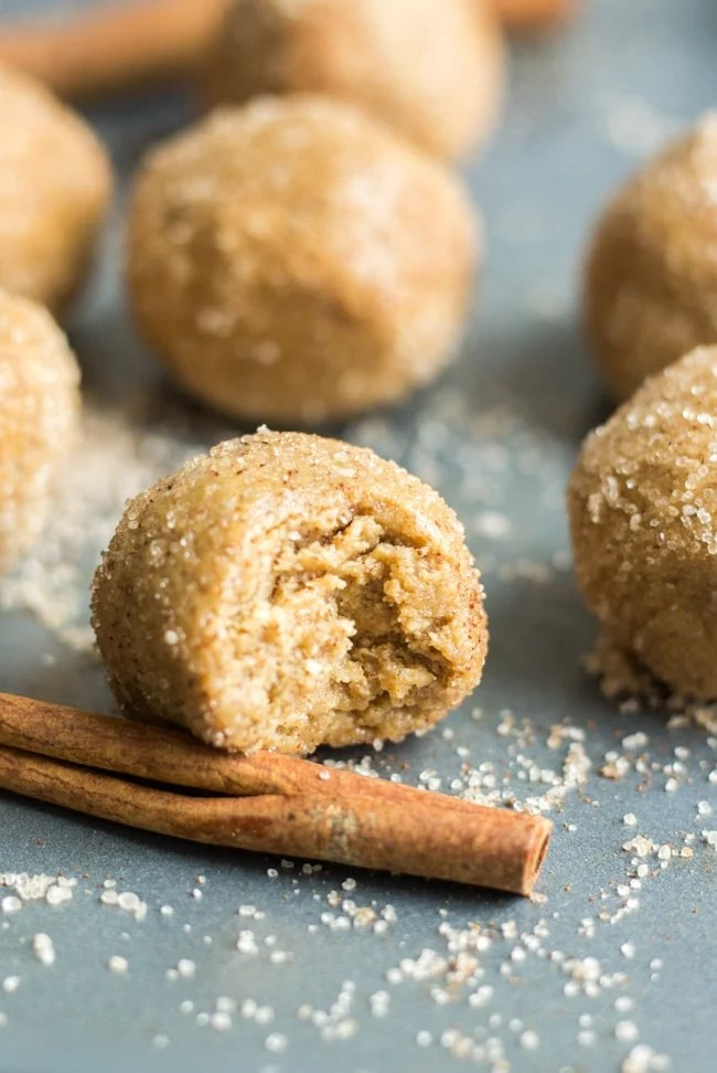 These no-bake snickerdoodle protein balls are filled with cinnamon and so easy to make. They're perfect for breakfast, workouts or on-the-go snacks.