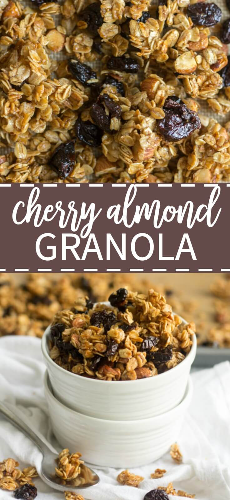 Crunchy, sticky and sweet, this homemade cherry almond granola is made in one bowl and has so much flavor. Sweetened with mostly maple syrup, this healthy breakfast or snack recipe is so easy to make. Mix all 8 ingredients in a bowl and spread it on the pan and bake for 45 mins.