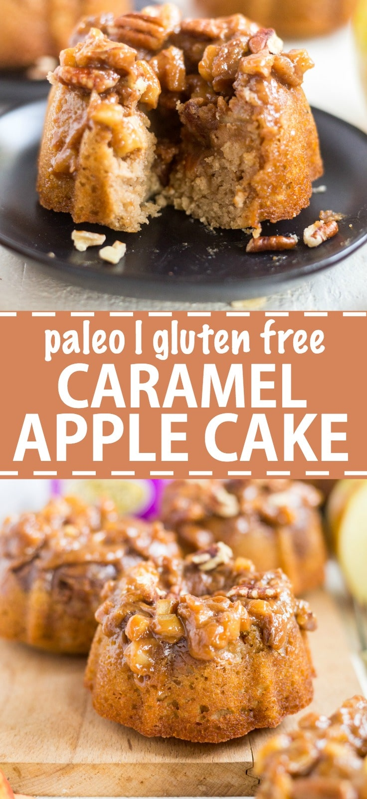 This paleo caramel apple cake is a healthy, gluten free dessert recipe made for Thanksgiving. It's filled with fall flavors and perfect for family and friends that want to stay healthy during the holiday season.