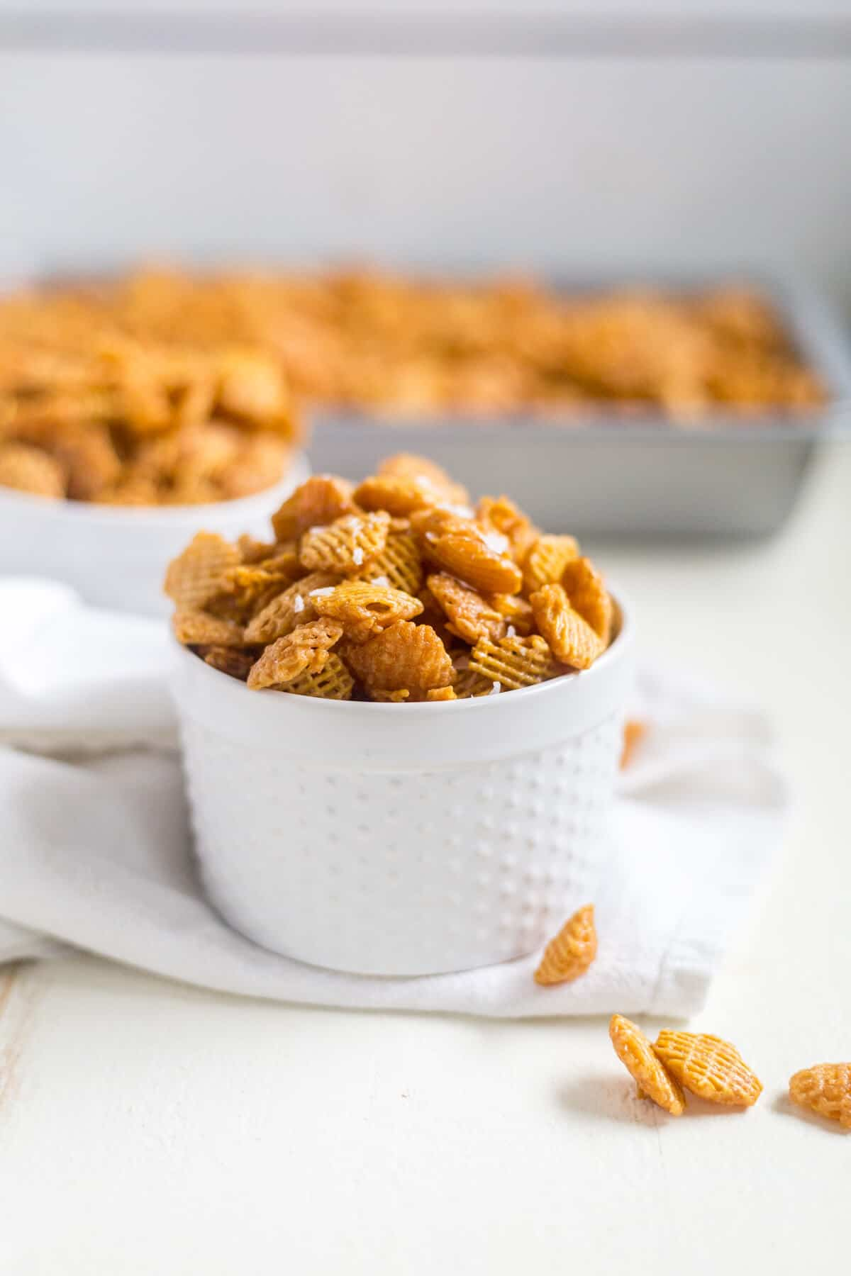 Seriously, this salted caramel crispix party mix is so addicting. You won't be able to take just one handful. This makes a big batch to share with friends and family, especially during the holidays.