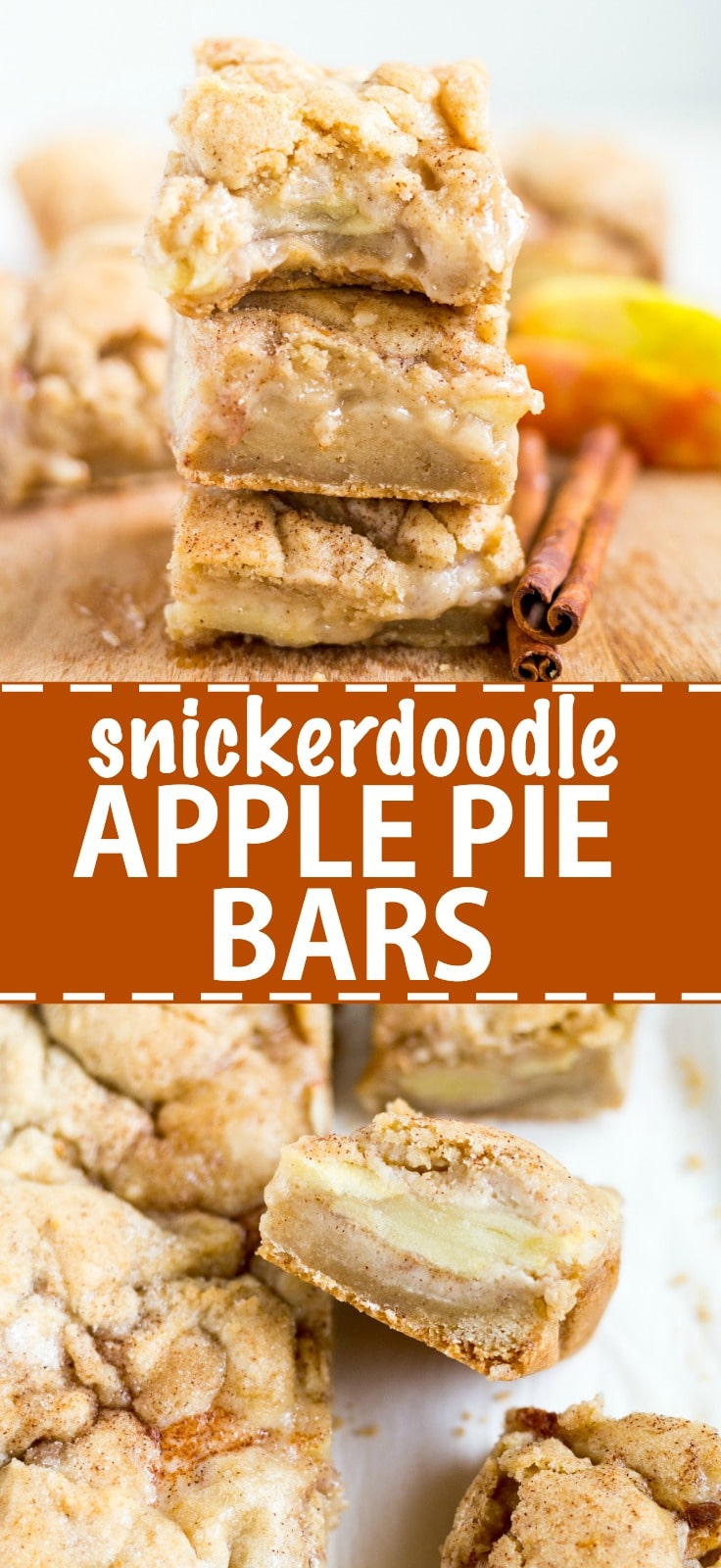 Sweet and gooey snickerdoodle apple pie bars are the perfect fall dessert. The base layer is a snickerdoodle bar topped with cinnamon-spice apple pie filling and topped with more snickerdoodle. It's delicious served warm with ice cream!