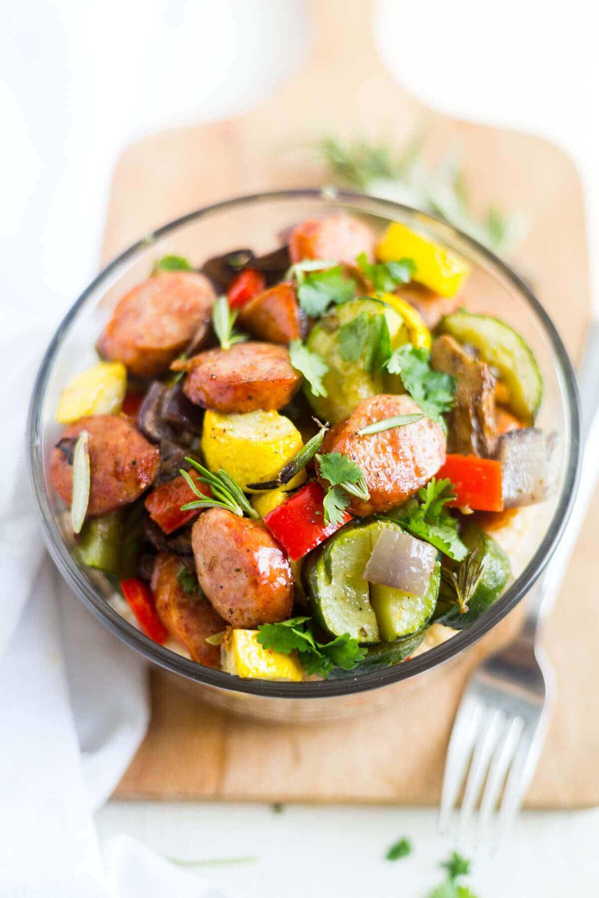 sausage and veggies bowl