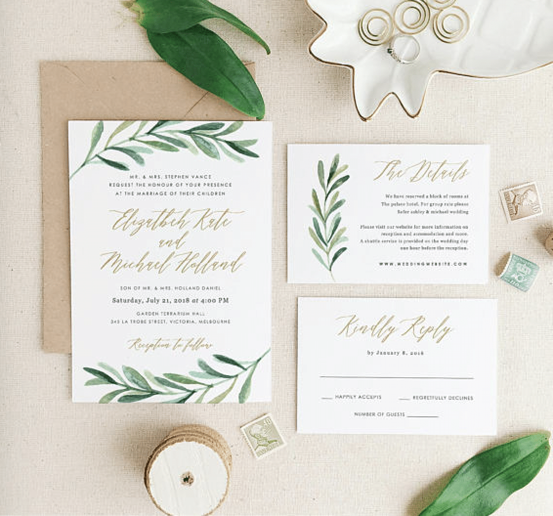 Wedding Invitations Ideas: Wedding Invitation Tips And 10 Greenery Wedding Invitation