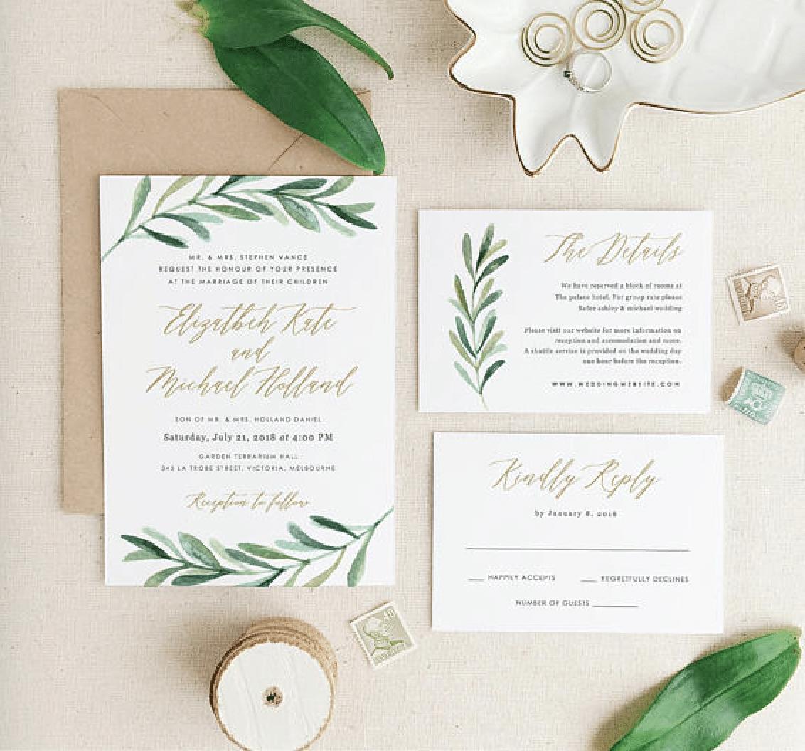 Wedding Invitation Tips and 10 Greenery Wedding Invitation ...