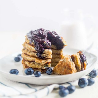 Coconut Flour Pancakes with Blueberry Syrup