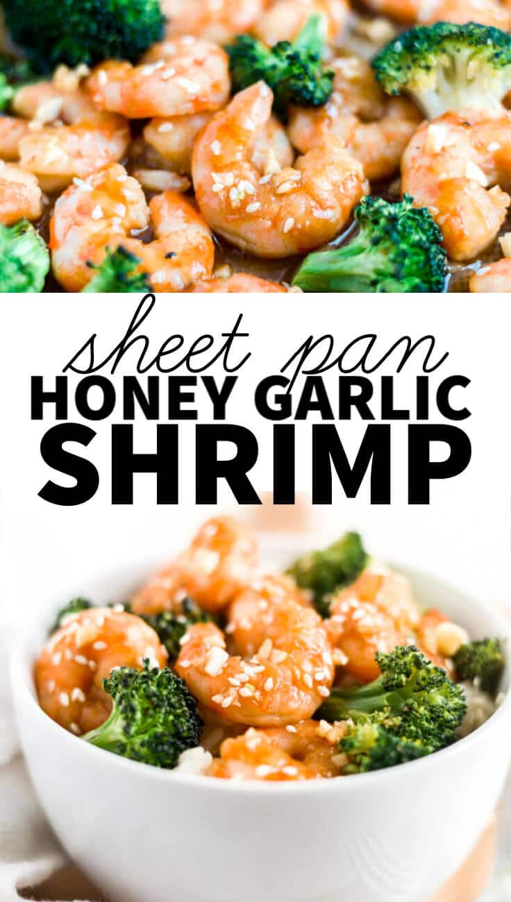 2 pictures of honey garlic shrimp image collage with text overlay
