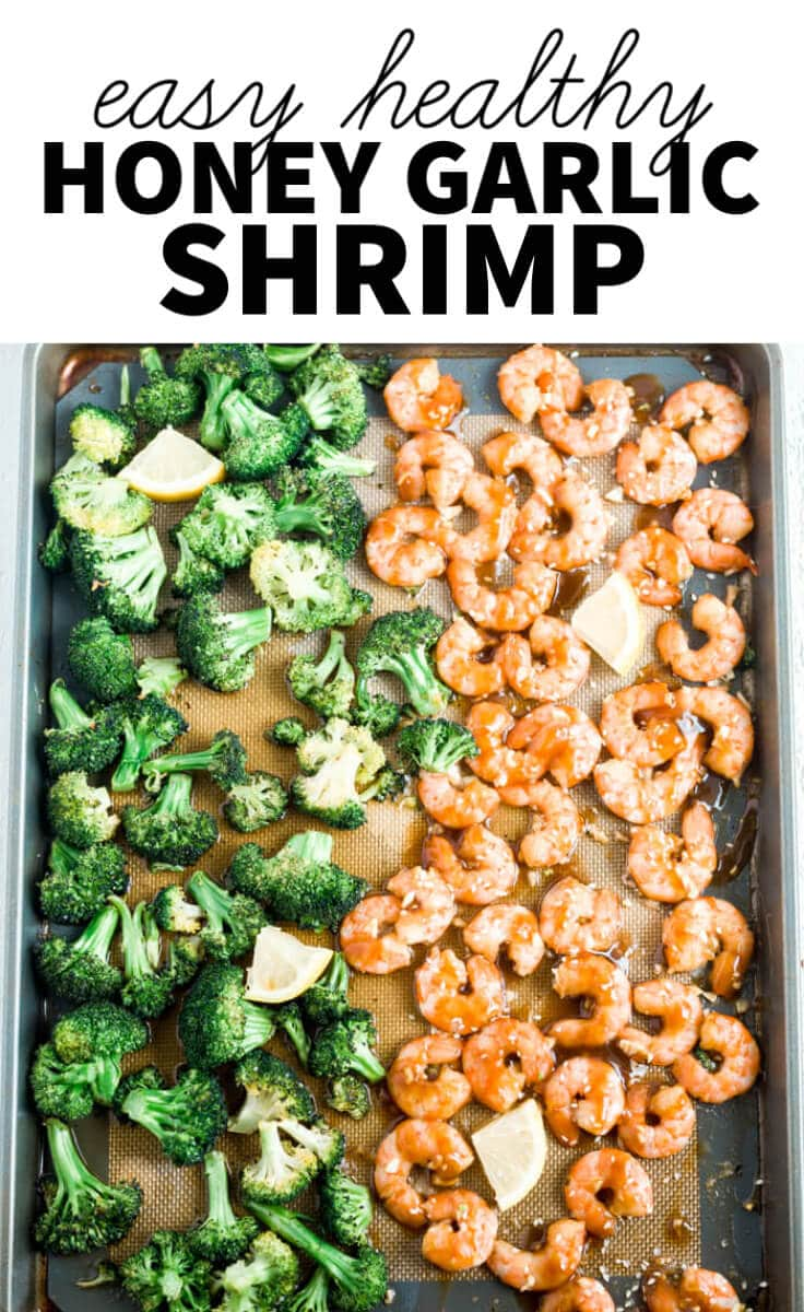 honey garlic shrimp on a sheet pan with text overlay