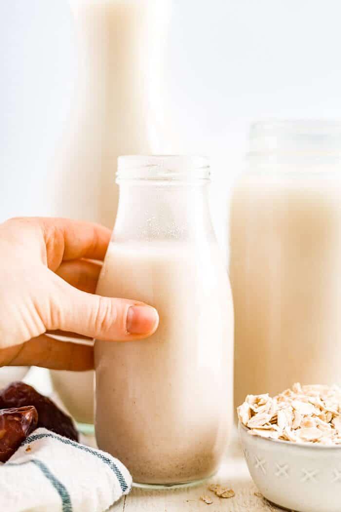 oat milk drink in a jar