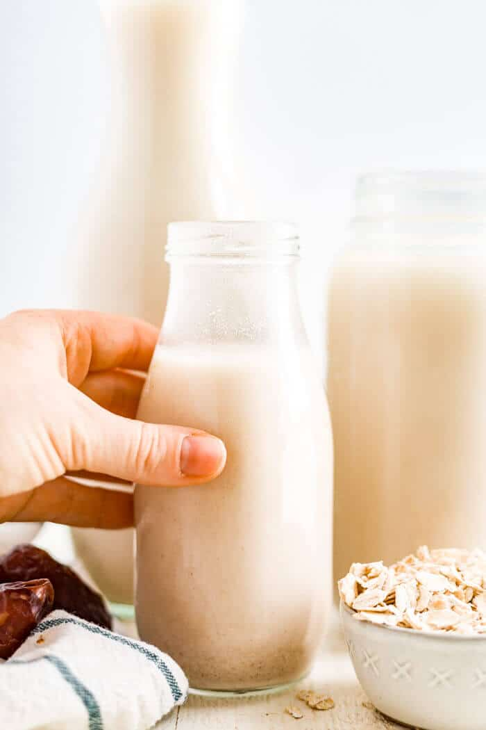 oat milk drink in a jar