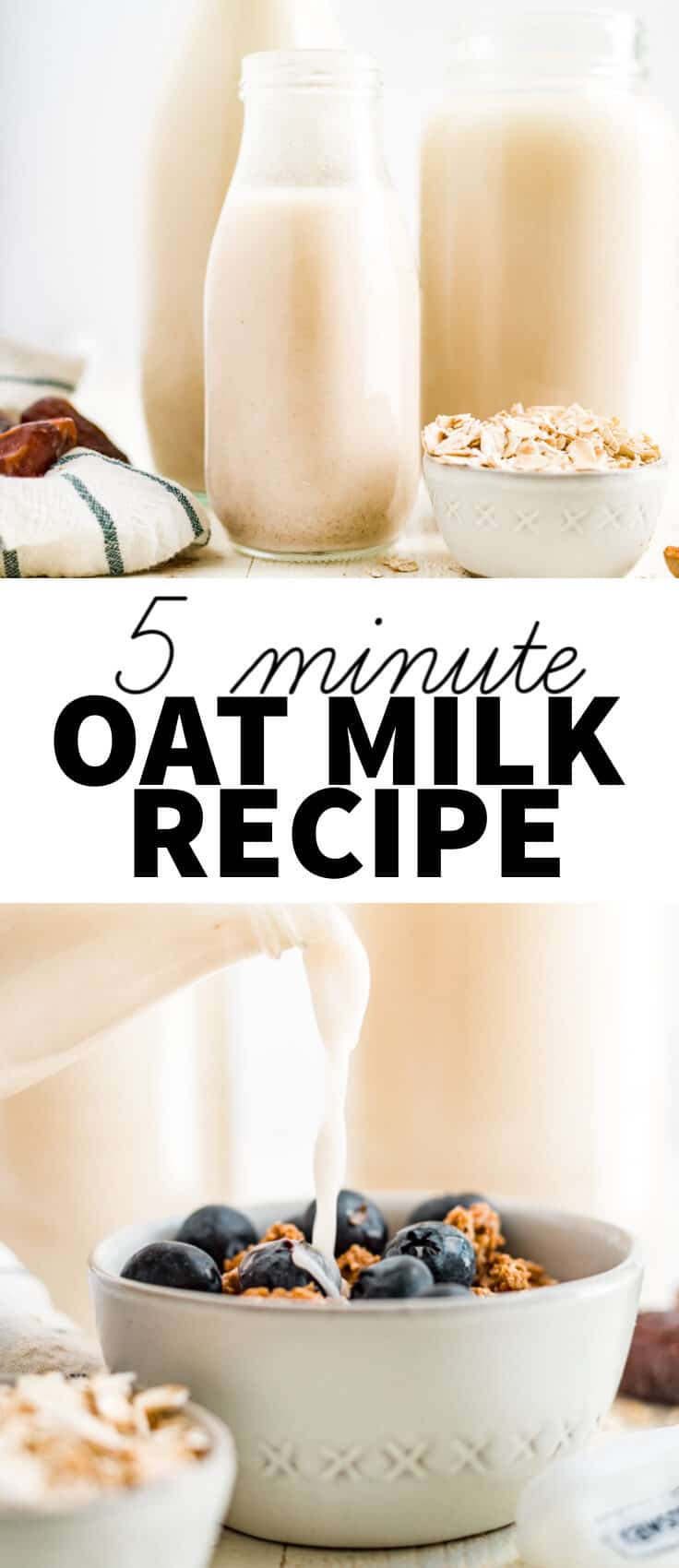 5 minute oat milk recipe with text overlay