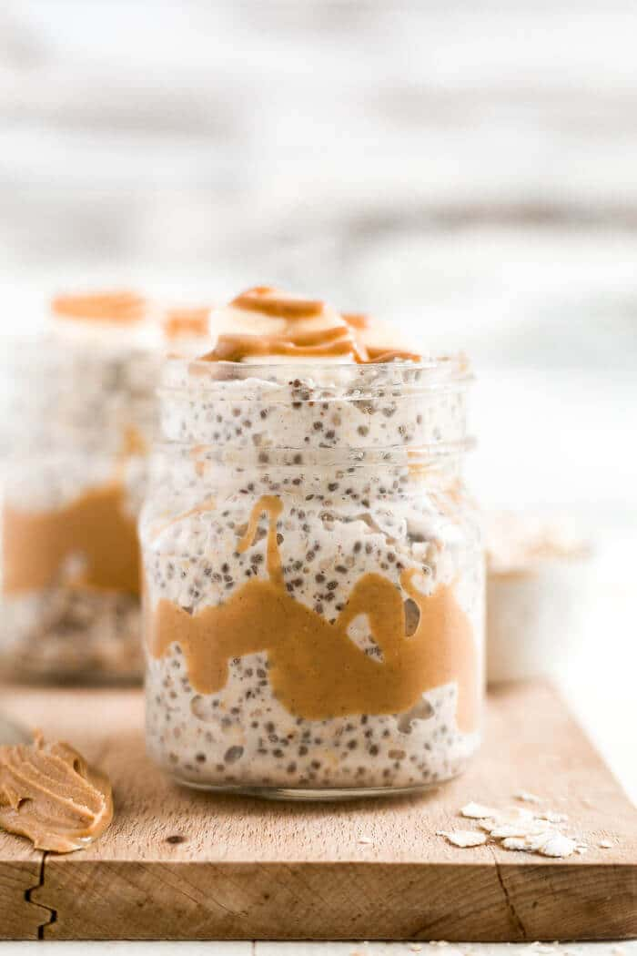 peanut butter overnight oats in a jar