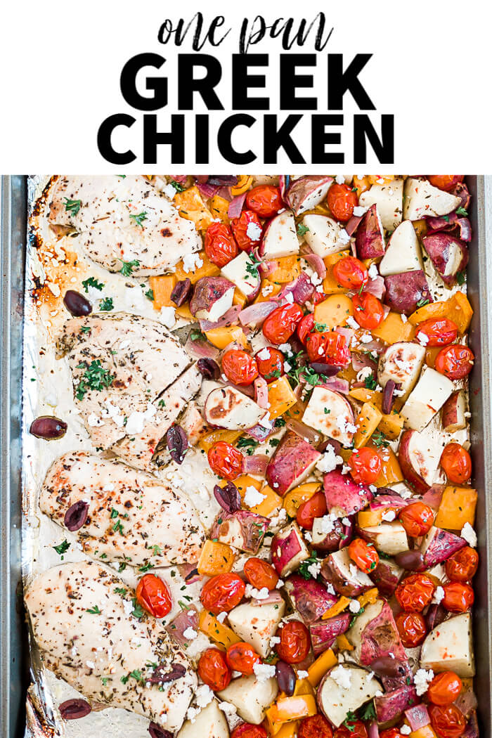 greek chicken and vegetables on a sheet pan with a text overlay