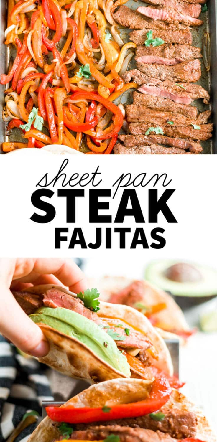 picture collage of sheet pan steak fajitas