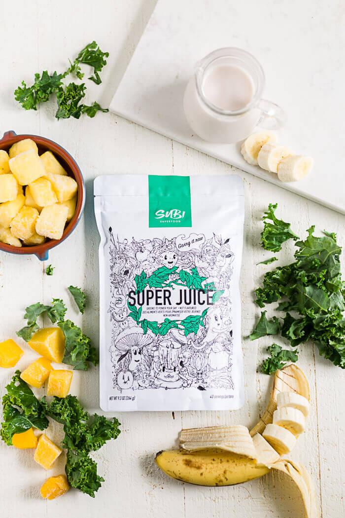 kale banana smoothie recipe ingredients with subi green powder
