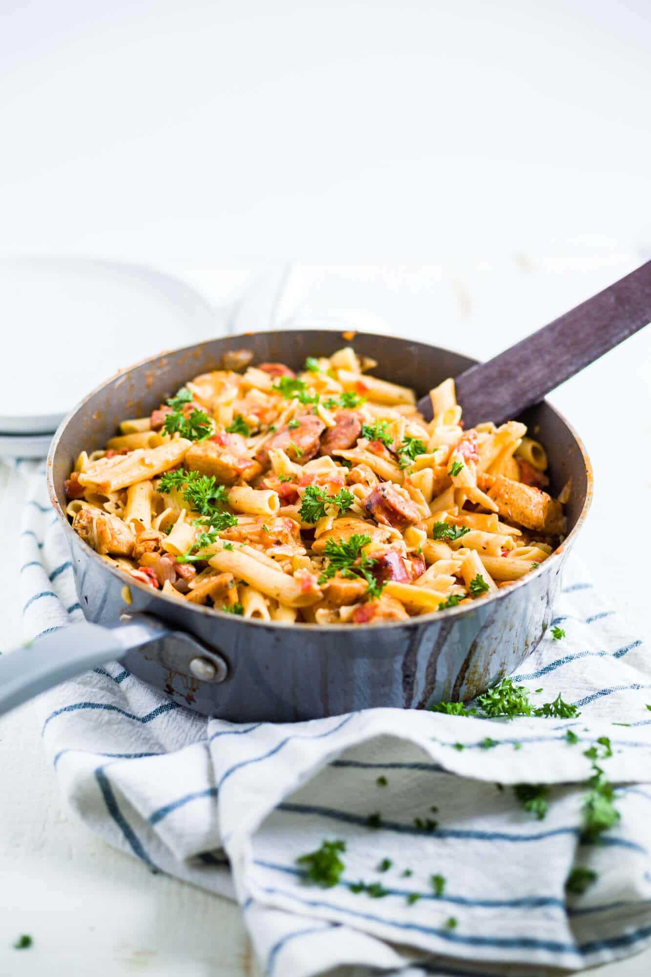 cajun chicken pasta in a large saucepan