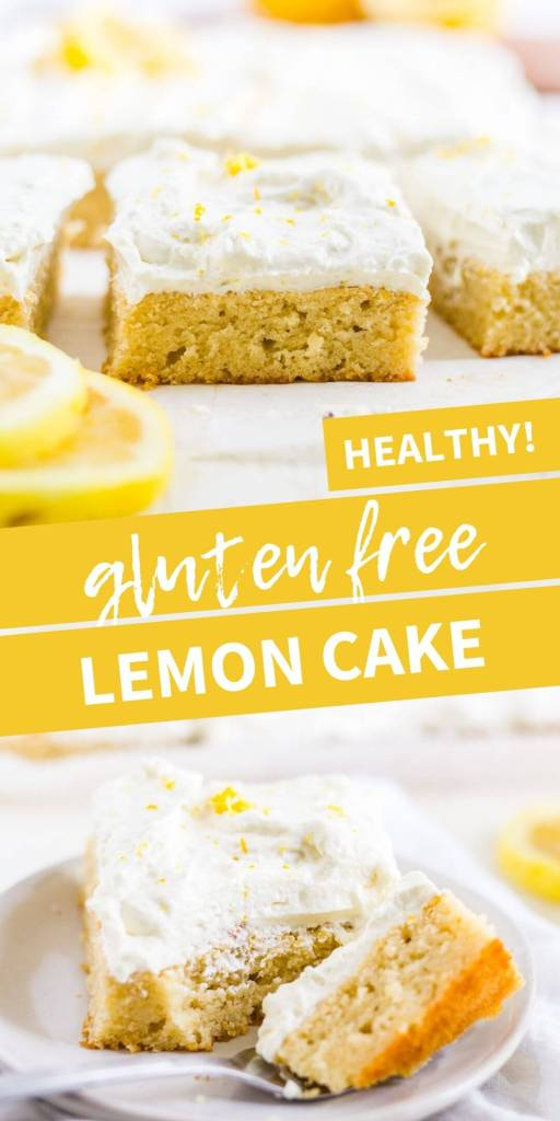 healthy lemon cake with a text overlay