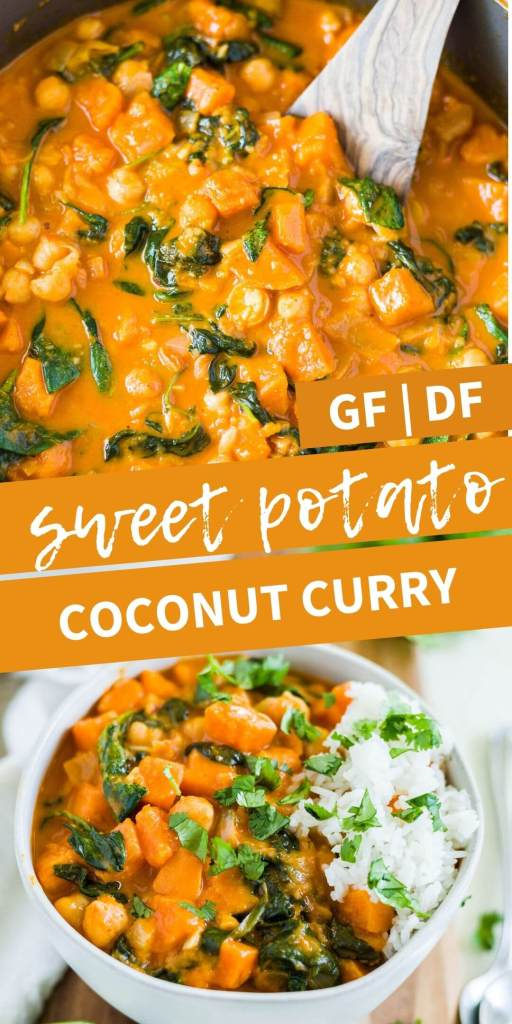 creamy vegan coconut sweet potato curry recipe collage