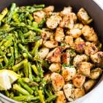 Crispy Garlic Chicken Bites with Asparagus [15 Minutes]