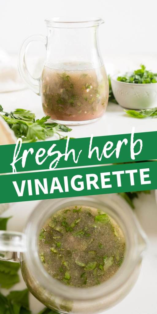 collage of fresh herb vinaigrette for pinterest