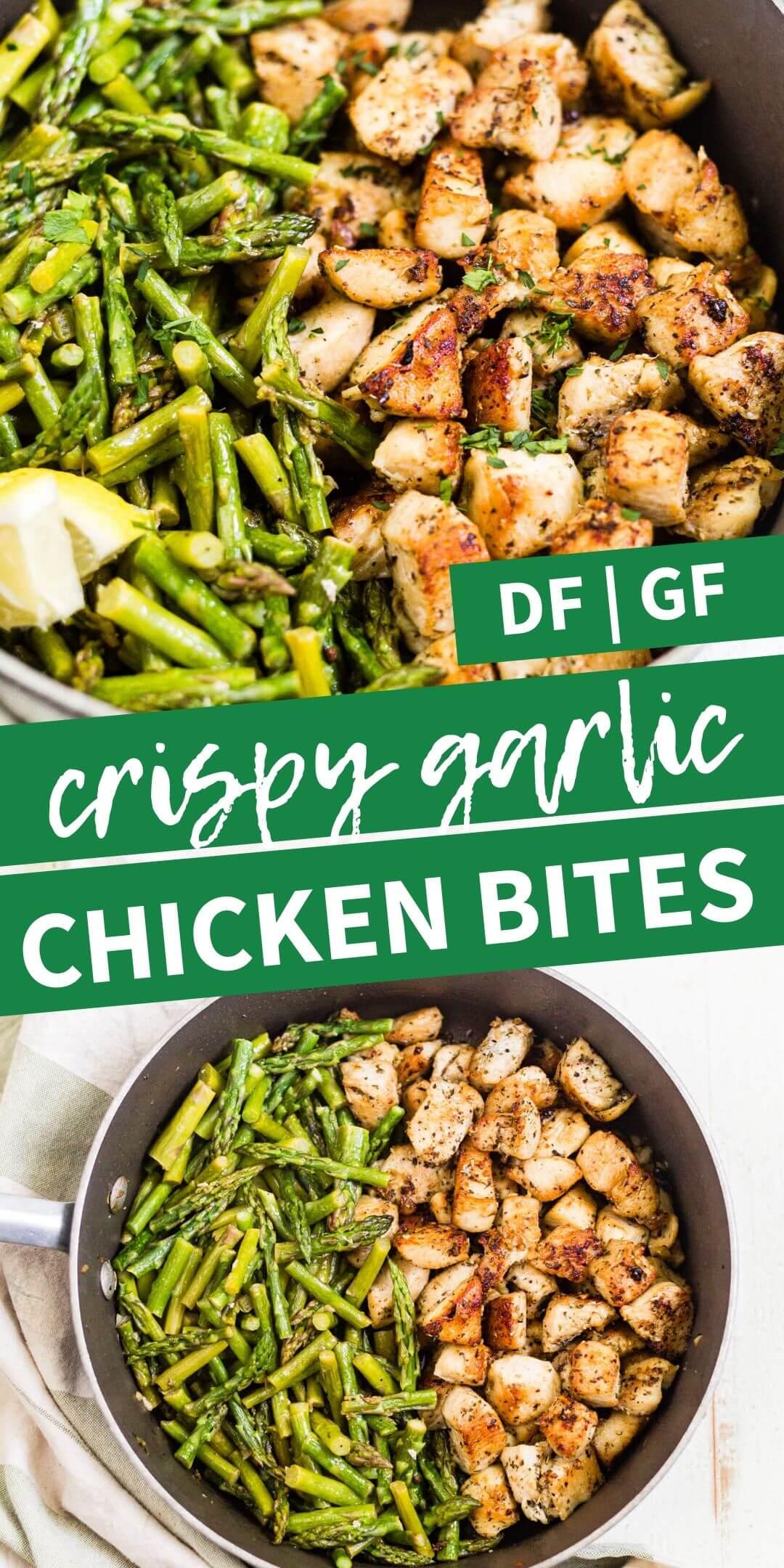 crispy garlic chicken bites pin