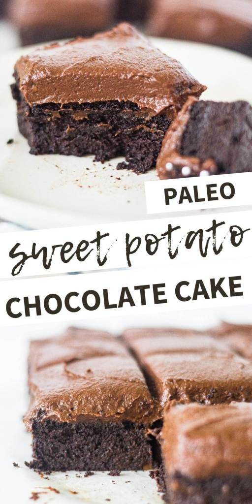 collage of two images of sweet potato chocolate cake
