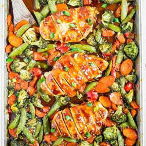 healthy chicken dinner ideas like this sheet pan chicken teriyaki