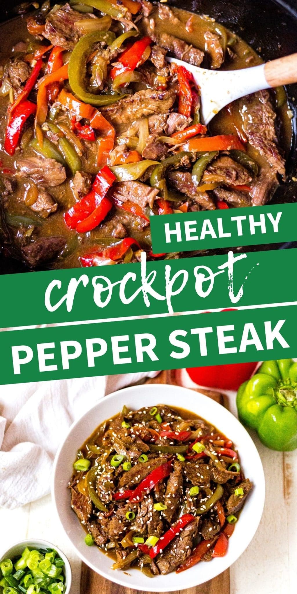 collage image of crock pot pepper steak