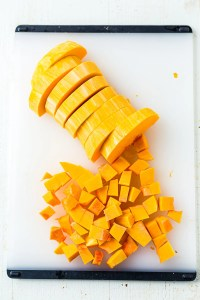 sliced butternut squash on a cutting board