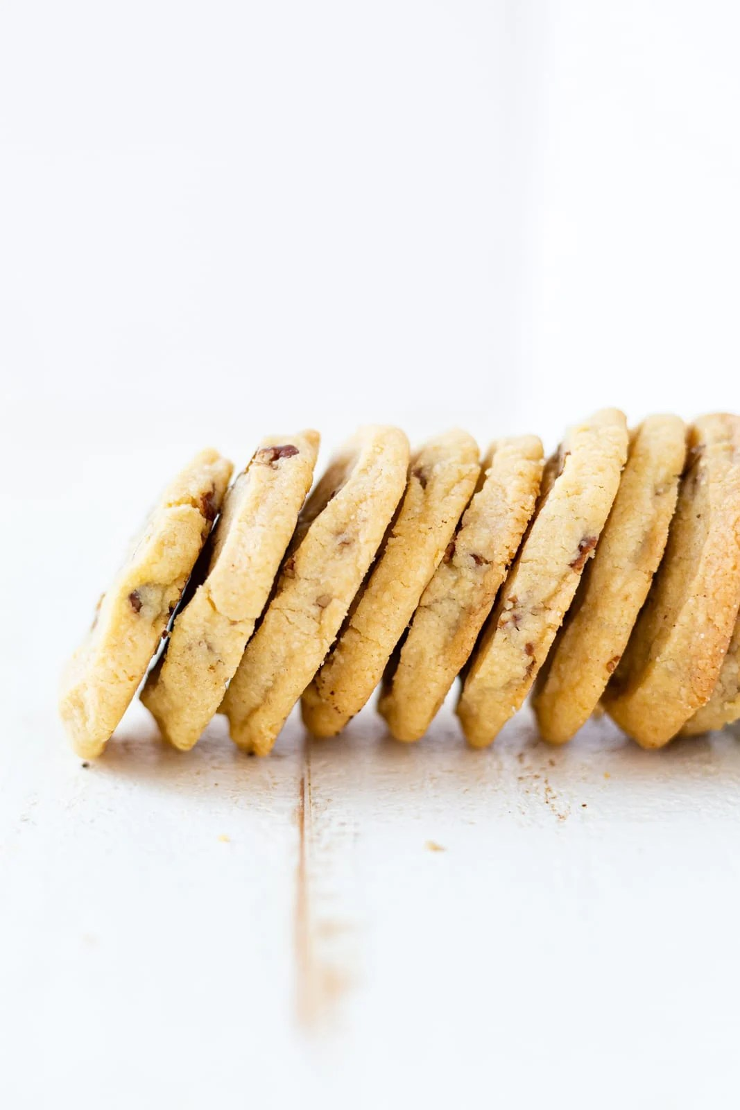 pecan shortbread cookies stacked next to each other
