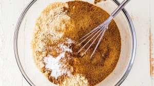 dry ingredients for almond flour banana bread in a mixing bowl