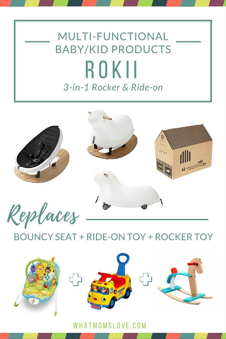 Buy less baby stuff with these multi-functional products. Rokii 3-in-1 Rocker and Ride-on by Bower and Beyond.