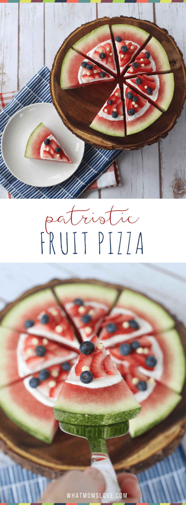 Healthy 4th of July dessert recipe. Red, white and blue watermelon fruit pizza.
