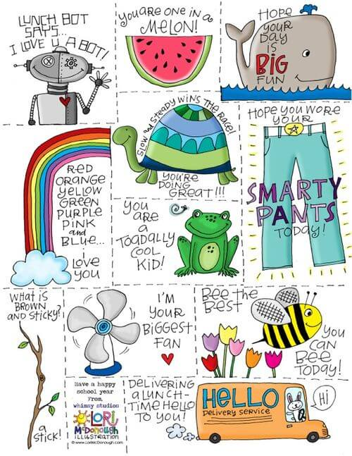 fresh picked whimsy lunch box notes printable