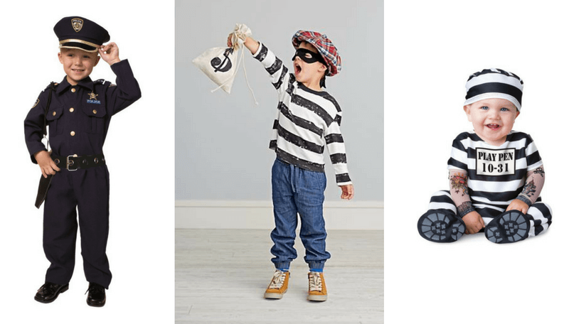 Creative Halloween Costumes for Siblings - Robber, Cop and Convict