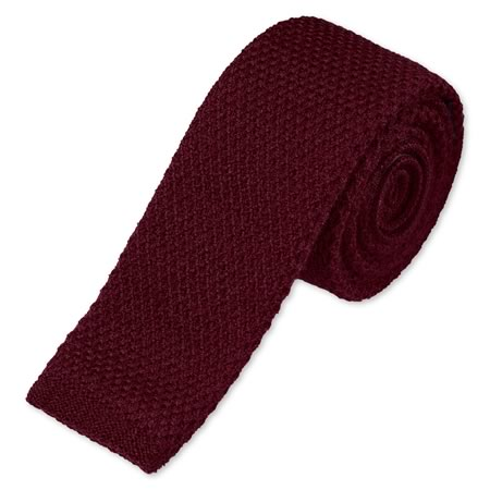 Burgundy Knitted wool tie