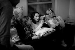 The girls looking at something they probably shouldn't be looking at on their phones.