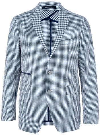 Navy Gingham Blazer