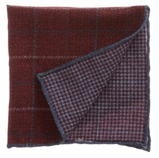 Reversible Plaid And Houndstooth Pocket Square