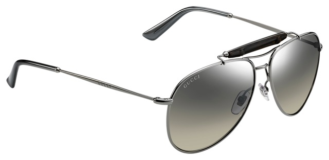 Gucci dark ruthenium aviator sunglasses with bamboo