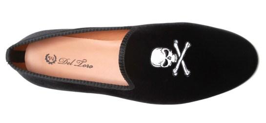 velvet slippers embroidered del toro skull bones black