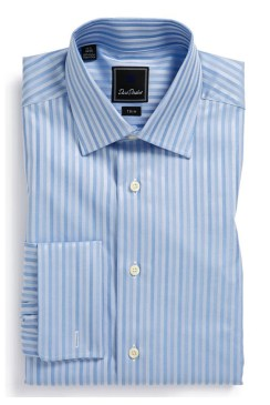 David Donahue Trim Fit Dress Shirt - Blue stripes
