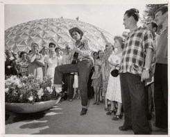 """It may have been the Cold War, but Levi's® jeans found their way to Moscow in 1959, as part of an international trade far. Local """"cowboys"""" dressed up in the products and the jeans were one of the mostmobbed displays at the fair."""