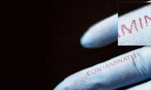 Rękawiczka ostrzegająca przed bakteryjnymi zanieczyszczeniami