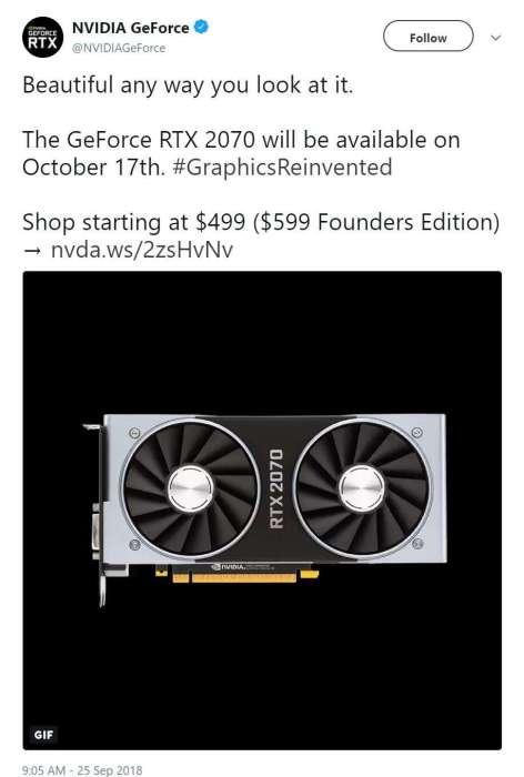 Oficjalna data premiery GeForce RTX 2070