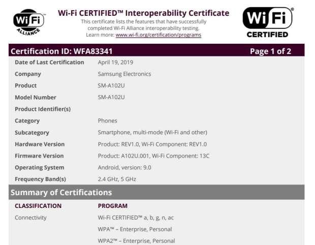Galaxy A10e, samsung Galaxy A10e, wi-fi alliance Galaxy A10e, certyfikat Galaxy A10e