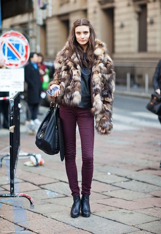fur coat burgundy jeans
