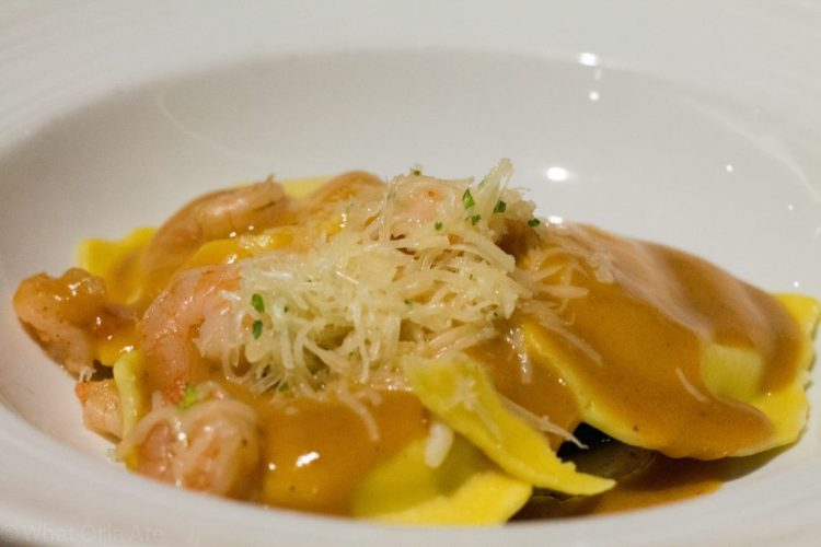 Shrimp Ravioli (wilted spinach, creamy thyme & lobster sauce)
