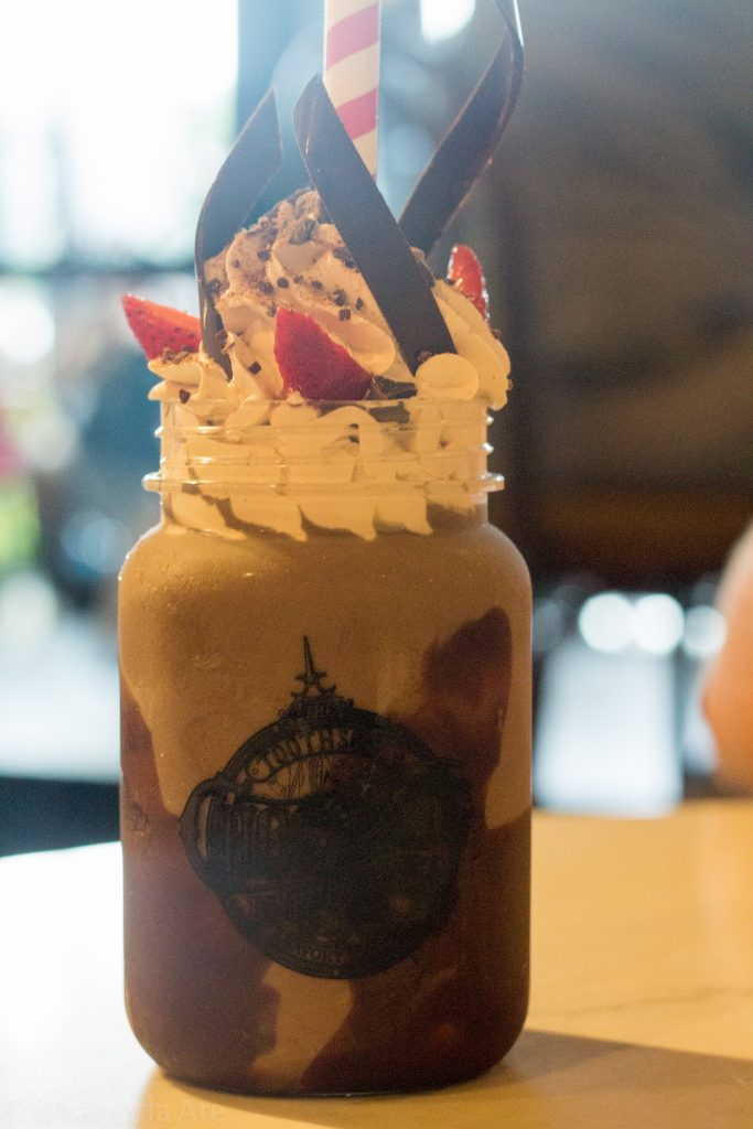 Chocolate X5 (Chocolate ice cream, chocolate chunks, strawberries, chocolate sauce, fresh-whipped cream, chocolate spirals, cherry) fromToothsome.