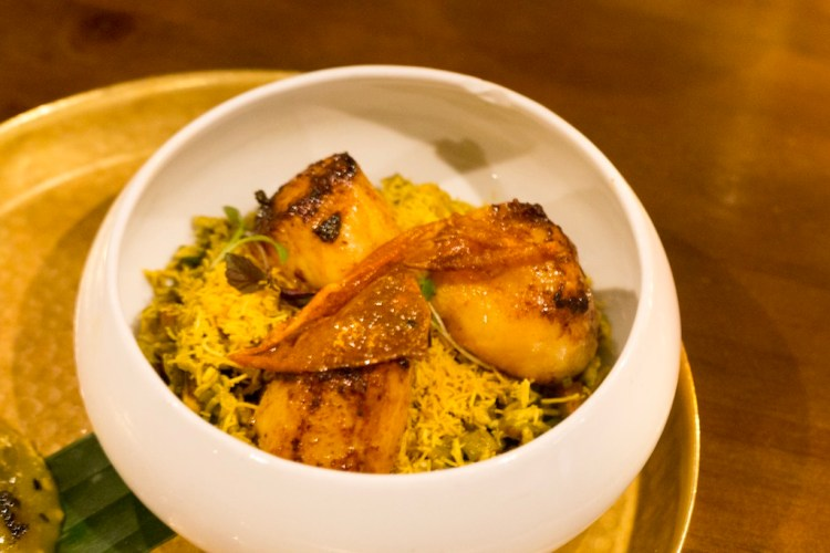 Bombay Curried Scallops, Gram Flour Crispy Vermicelli & Peanut Chat.