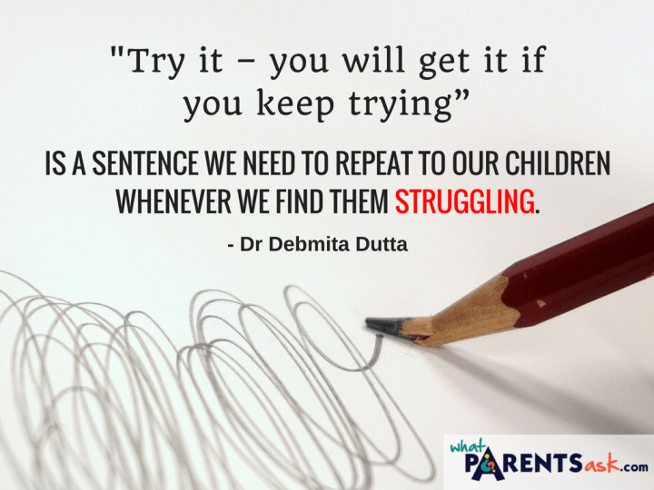 Tell your preschooler to keep trying